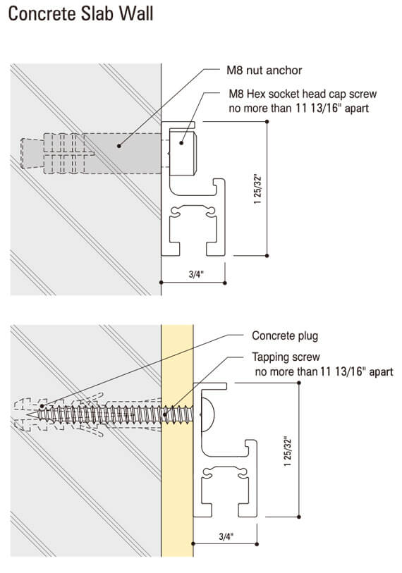 MR3 Wall Mounted Rail diagram 1
